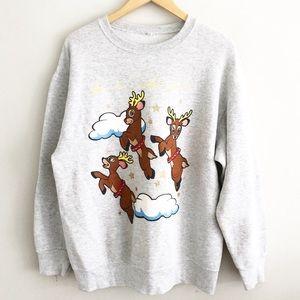 Vintage Santa's Helper Reindeer Gray Sweatshirt